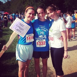 Regan, Gwen and Carrie run a 5K to support children with cancer.