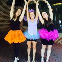 Carrie, Stacy and Regan sport their tutus during No Pants June.