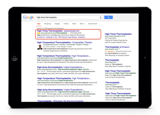 Google Adwords Search Ad Example In Top Position With Sitelinks for Polymers Client