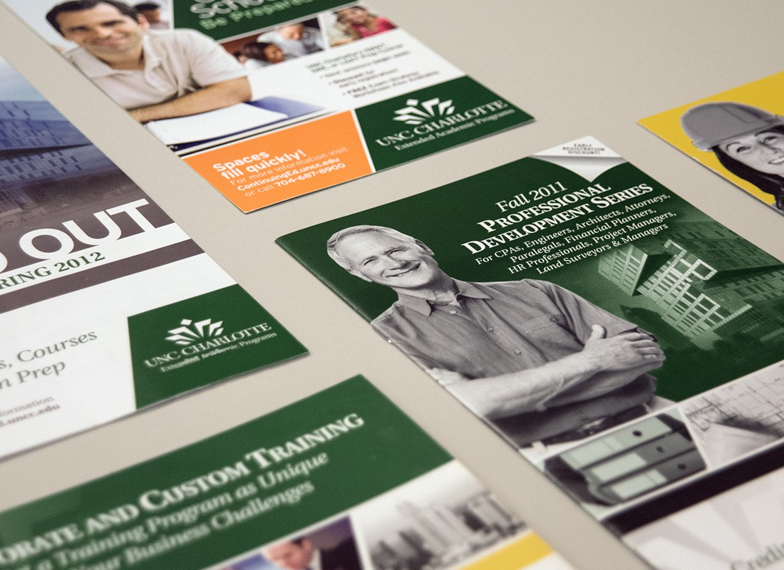 Print marketing for UNC Charlotte extended academic programs
