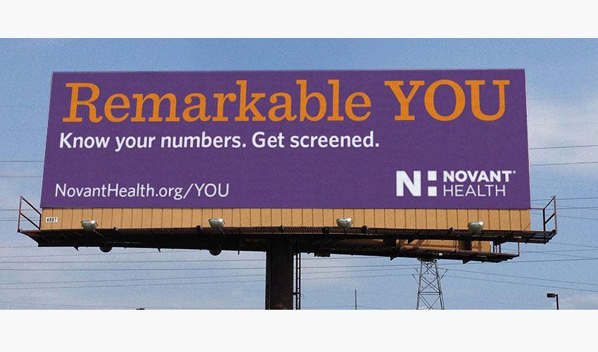 Novant Health's Remarkable You healthcare billboard. Charlotte, NC.