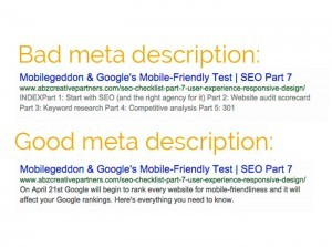 Example image of good meta description versus bad meta description