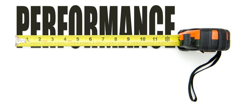 Image of measuring tape measuring the word performance